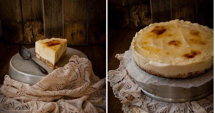 Tarta de queso al whisky (sin horno y con crema catalana)
