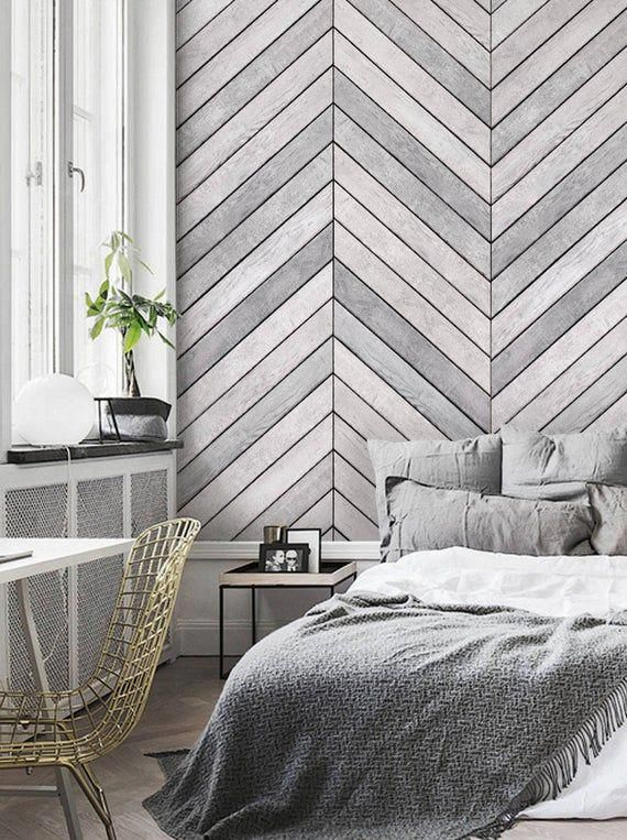 Chevron Grey White Wood Accent Wallpaper Grey White Wood Etsy Wood Wallpaper Bedroom Accent Wall Bedroom Wallpaper Accent Wall