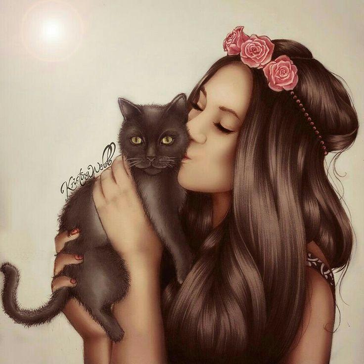 Картинки девушек нарисованные кошки