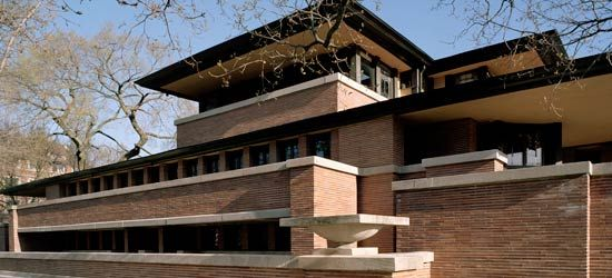 The Robie House by Frank Lloyd Wright is located on the University of Chicago campus. It was completed in 1910 and is regarded as one of the most important buildings of Wright's projects. You can learn more here: http://gowright.org/robie-house.html