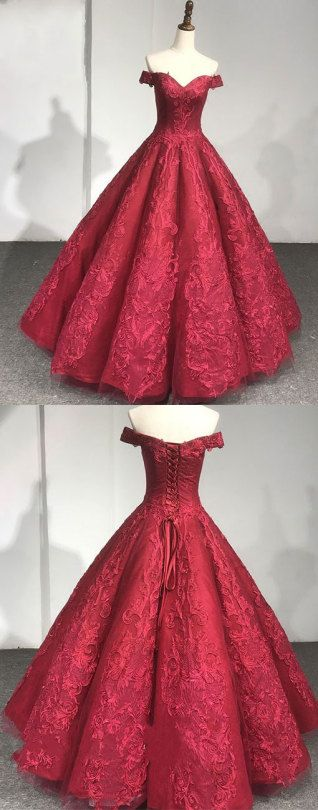 burgundy long prom dress, lace evening dress, formal dress