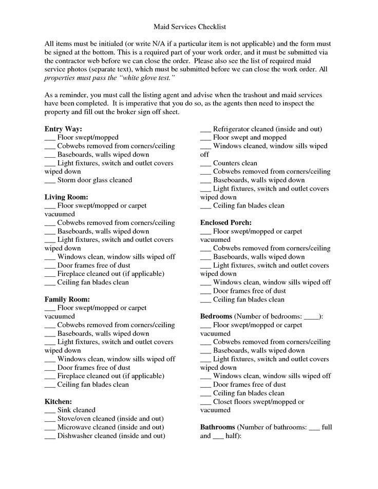 Actual Maid Service Cleaning Checklist