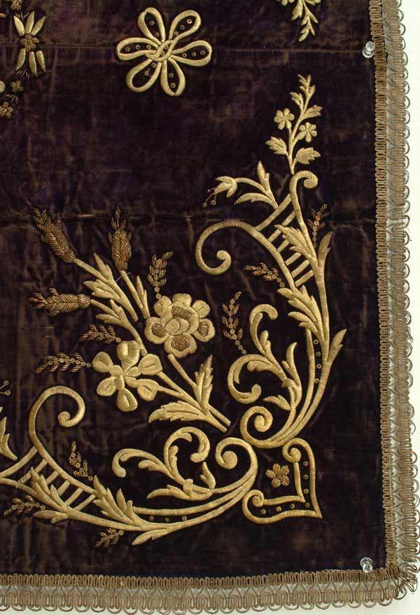 Embroidery on Purple Velvet. Asia, Middle East.