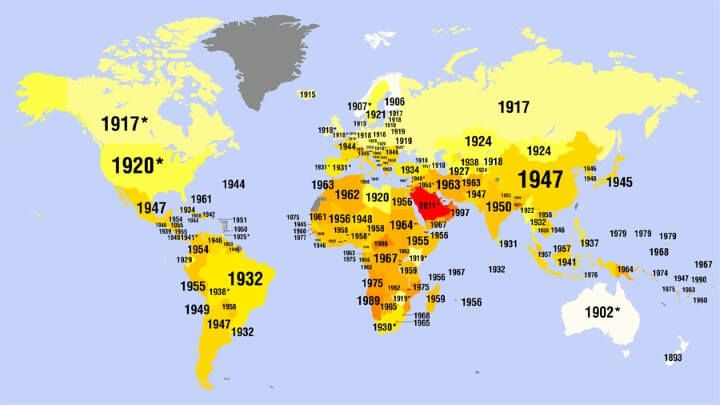 the map above shows when women got the right to vote in each country around the