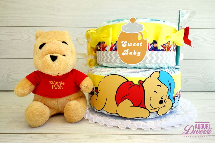 Torta di pannolini Winnie the Pooh! 2 piani, 45 pannolini Pampers Baby Dry tg.3 www.facebook.com/AuguriDiversi
