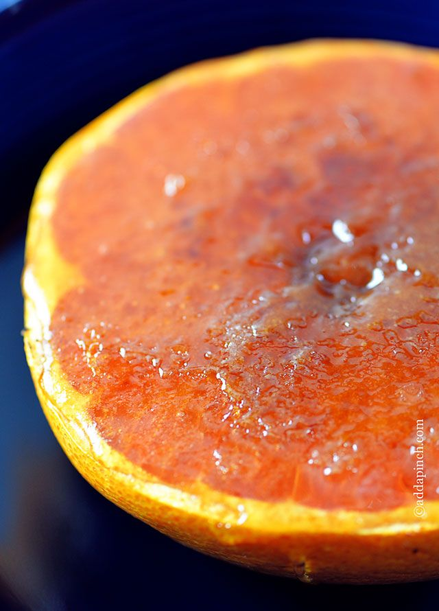 Broiled Grapefruit Recipe from addapinch.com