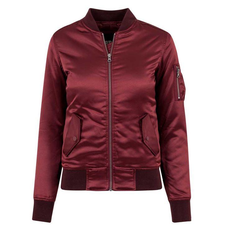 Dames satijn bomber jacket burgundy rood - L - Urban Classics