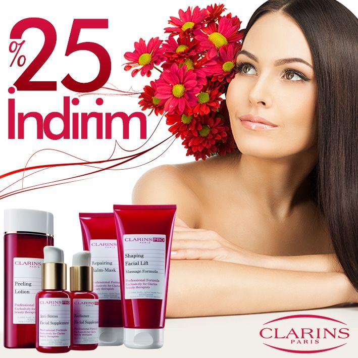 Clarins ürünlerin de % 25 indirim şimdi Turuncu Kasa'da. #turuncukasa #indirim #clarins