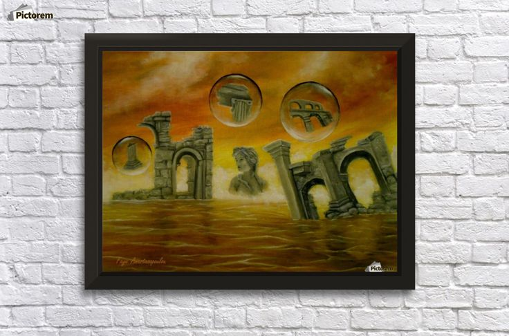 Framed Print, Painting, monuments,temples,ancient,historical,old,era,archeological,finds,antiquity,classic,oldtimes,statue,greek,godess,european,fantasy,scene,bubbles,seascape,water,sky,clouds,picturesque,whimsical,vibrant,vivid,colorful,orange,impressive,cool,beautiful,powerful,atmospheric,celestial,mystical,dreamy,dreamlike,contemporary,imagination,surreal,figurative,modern,fine,oil,wall,art,images,home,office,decor,artwork,modern,items,ideas,for sale,pictorem