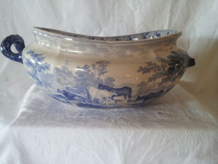 Antique 19th cent Pastoral Blue White Footbath Staffordshire Transferware  Rough. 277 best Antique Bathrooms Toilets and Foot Baths images on