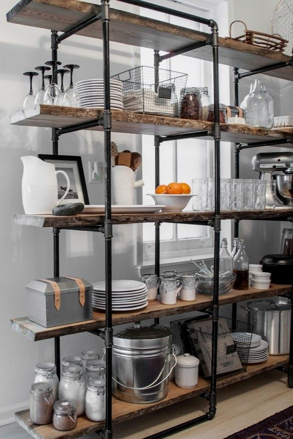 Easy Industrial Shelving Ideas To Accent Your Brick Steel Decor Industrial Shelving Decor Freestanding Kitchen Kitchen Shelving Units Kitchen Shelf Design