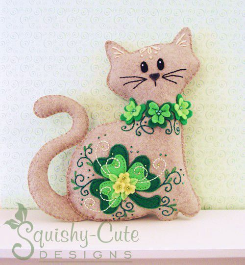 Cat Stuffed Animal Sewing Pattern  Felt Plushie by SquishyCuteDesigns.com - St. Patrick's Day decoration