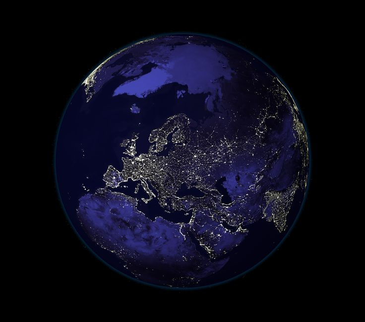 Lights from Europe, Africa and Asia from space