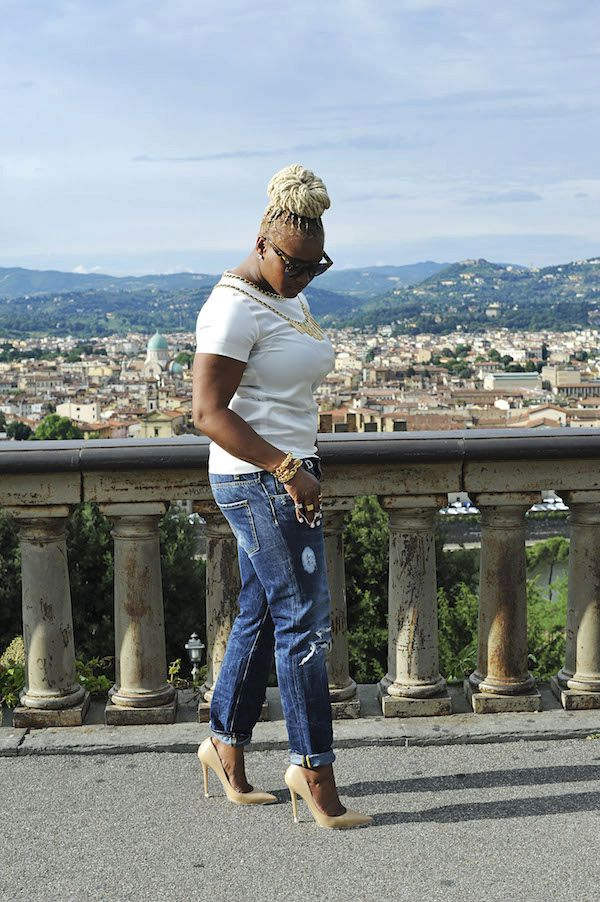 1 Claire's Life fashion bomb daily claire sulmers Firenze4Ever with LuisaViaRoma.com moschino shirt dsquared 2 jeans jimmy choo heels