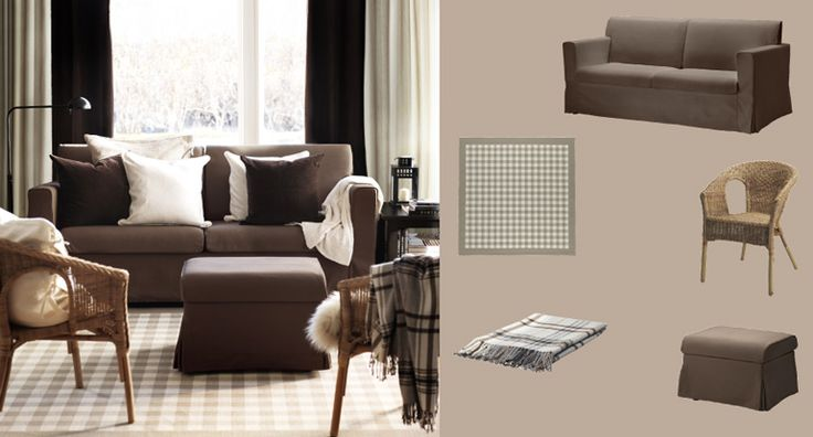 SANDBY three-seat sofa and footstool with Blekinge brown cover and MILLINGE beige rug