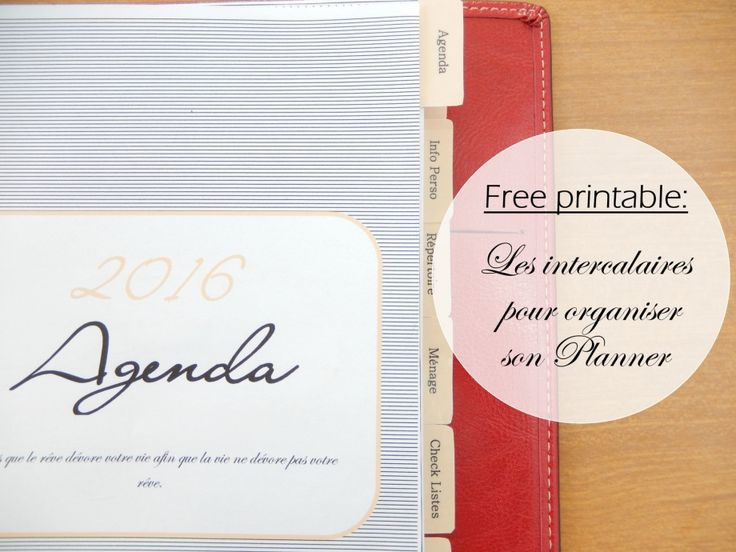 free printable intercalaire pour planner