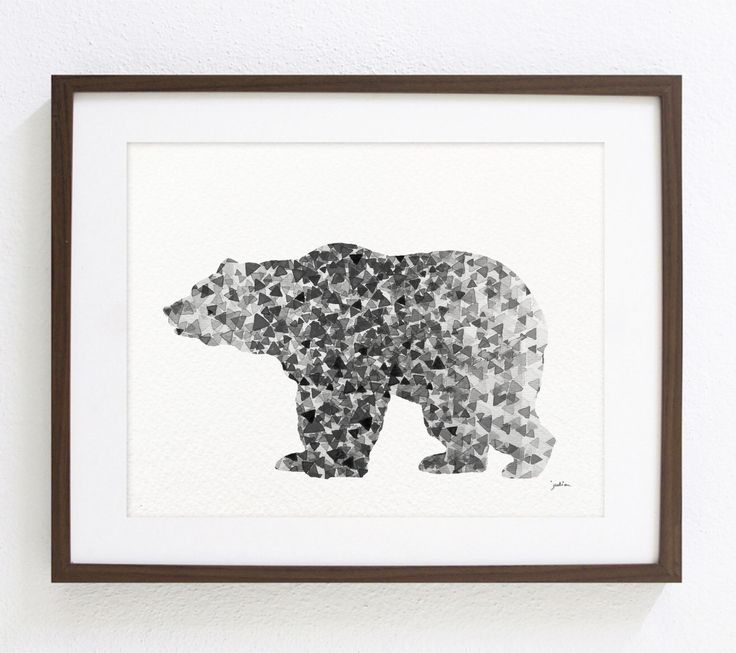 Bear Art Watercolor Painting - 8x10 Archival Print - Grizzly Bear Print - Black and White Art Print - Gray, Black Bear Silhouette by ElfShoppe on Etsy https://www.etsy.com/listing/152999031/bear-art-watercolor-painting-8x10