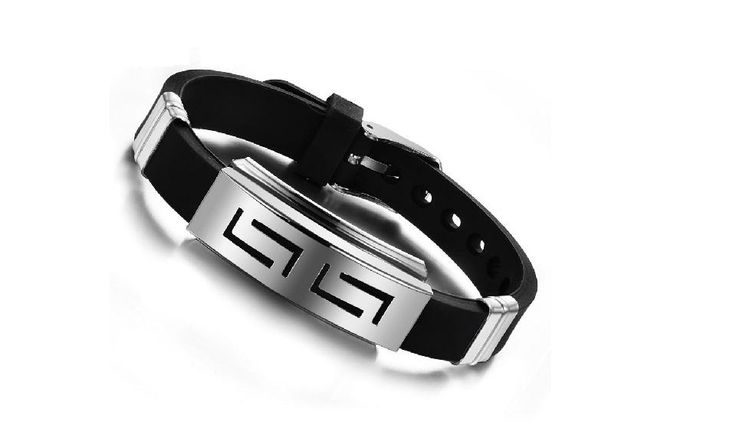 Silicone Rubber Hollow Strip Stainless Steel Men Bracelet