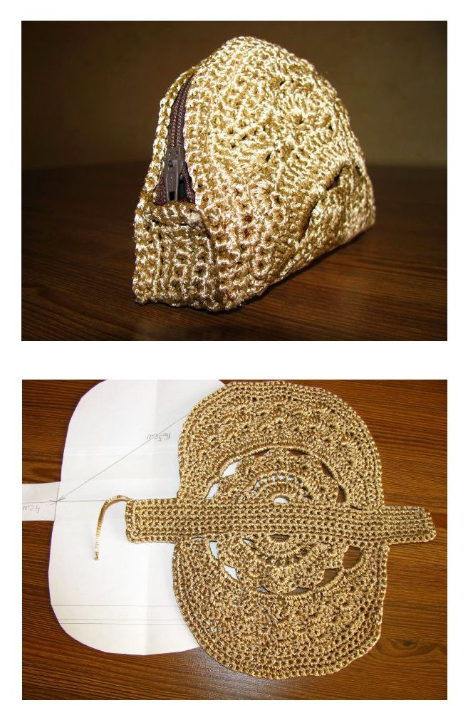 Crochet Cosmetic Bag - tutorial ༺✿ƬⱤღ  https://www.pinterest.com/teretegui/✿༻                                                                                                                                                     Más