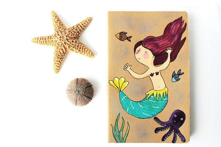 Quaderno Moleskine sirenetta nell'oceano di La douceur du miel  su DaWanda.com