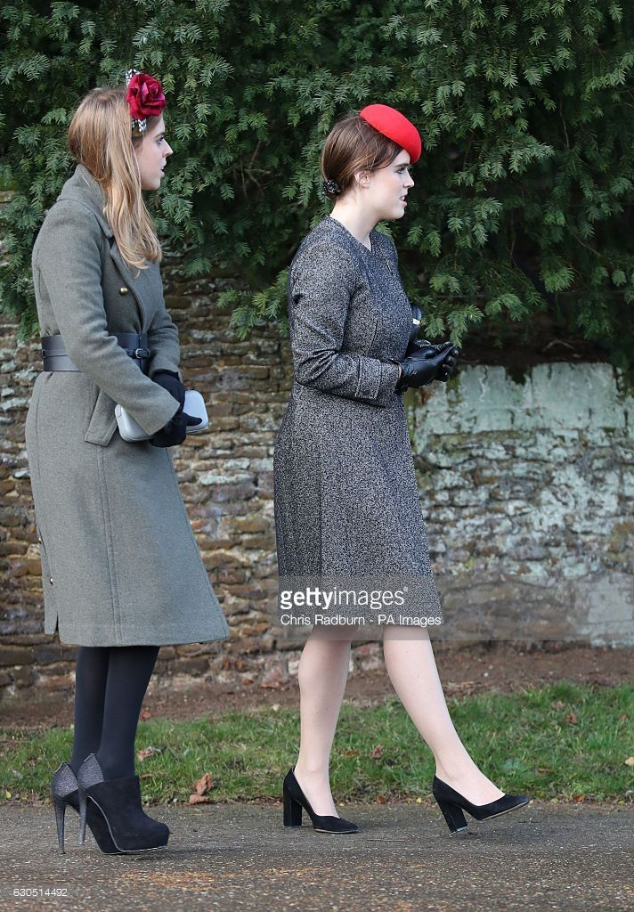 Princess Beatrice (left) and Princess Eugenie leaving the Christmas Day service at St Mary Magdalene Church on the Sandringham estate in Norfolk. (Photo by Chris Radburn/PA Images via Getty Images)