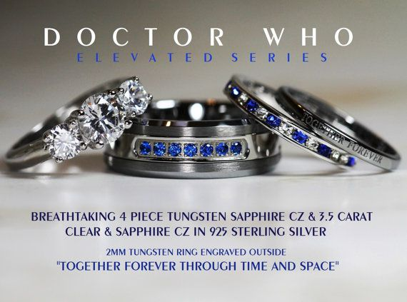 Breathtaking 4 Piece Doctor Who His 8mm SapphireTungsten + Hers 925 Sterling Silver 3.5 Carat Brilliant Cut & Sapphire CZ Wedding Ring Set,