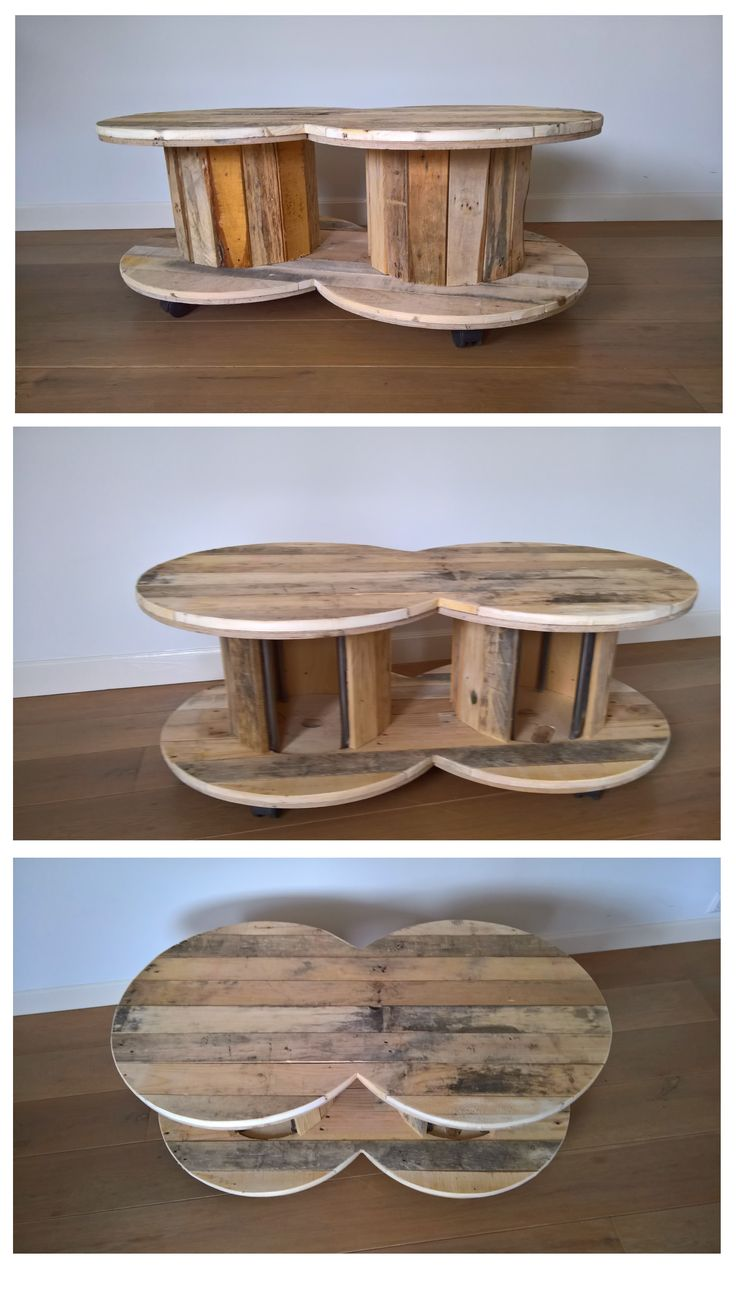Salontafel gemaakt van twee houten haspels, bekleed met pallethout. De tafel staat op wieltjes en heeft twee uitsparingen voor lectuur, drankflessen oid. Afmetingen ca. 115 lang x 60 breed x 41 hoog