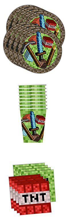 Minecraft Plates And Napkins. Mining Pixel World Birthday Party Supplies Set Plates Napkins Cups Kit for 16 by Birthday Galore. #minecraft #plates #and #napkins #minecraftplates #platesand #andnapkins