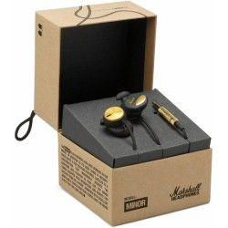SŁUCHAWKI DOUSZNE Marshall MINOR FX Czarny  MRS0001ESM Słuchawki o paśmie przenoszenia 20 - 20000 Hz, impedancji 32 Ohm, czułości 115 dB/mW. Słuchawki posiadają przewód o długości 1.2m zakończony pozłacanym wtykiem 3.5mm.