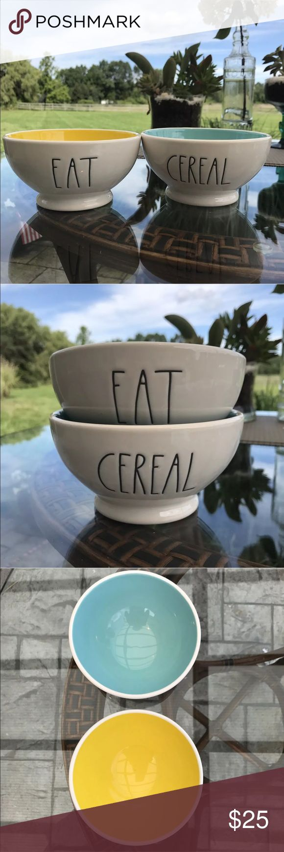 Rae Dunn By Magenta Set Of 2 EAT & CEREAL Bowls Rae Dunn By Magenta Set Of 2 EAT & CEREAL Bowls With Blue & Yellow Interiors.                                   🎁 Great Gift Idea For Your Rae Dunn Lover Or Your Favorite Cereal ❤'er!!! 🎁 Rae Dunn By Magenta Other