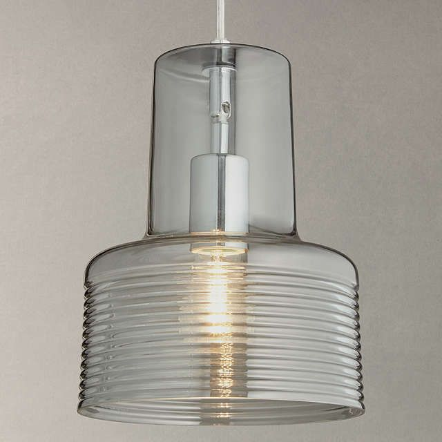 John Lewis Damon Ribbed Glass Pendant Light, Smoke at John Lewis