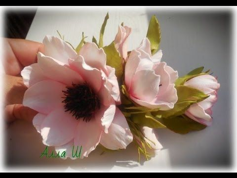 МК Заколка с цветами из фоамирана. - YouTube