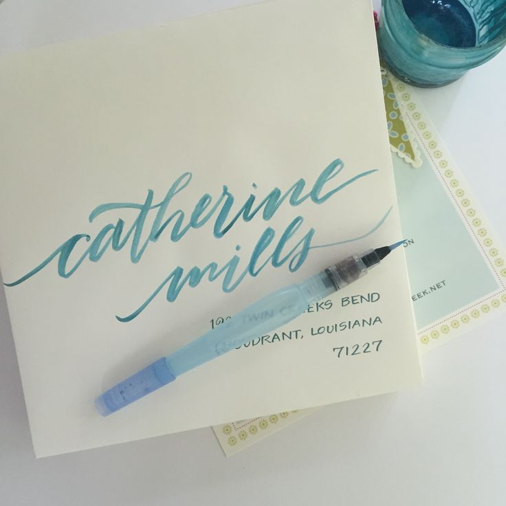 brush lettering with a pentel water brush and gouache