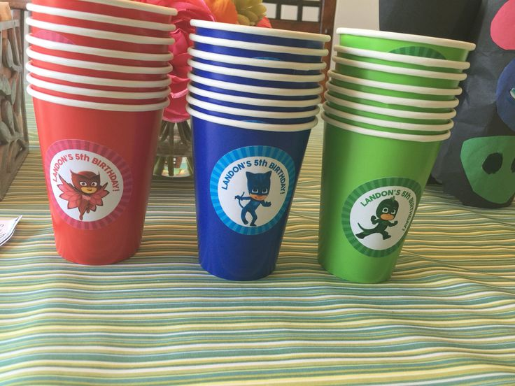 Pj masks cups made out of regular cups adding stickers