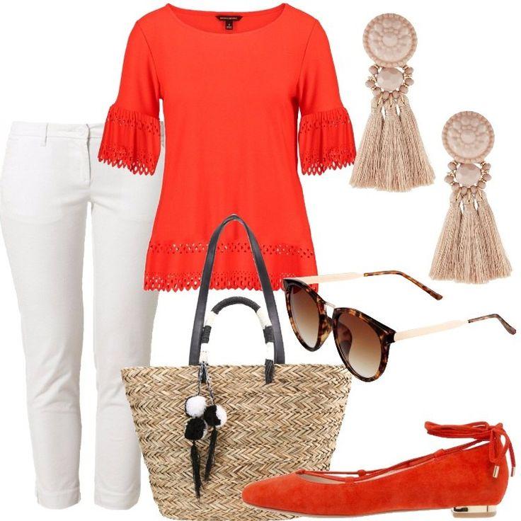 Pantaloni bianch , in cotone, con tasche laterali, alla francese; blusa arancione con maniche a campana e inserti in pizzo; ballerine arancioni, scamosciate con lacci alle caviglie e particolari dorati; occhiali da sole modello a farfalla e lavorazione a tartaruga; orecchini pendenti beige in tessuto e plastica e, per finire, borsa in paglia, foderata all'interno e con manici, tracolla e pompon rimovibile, tono su tono.