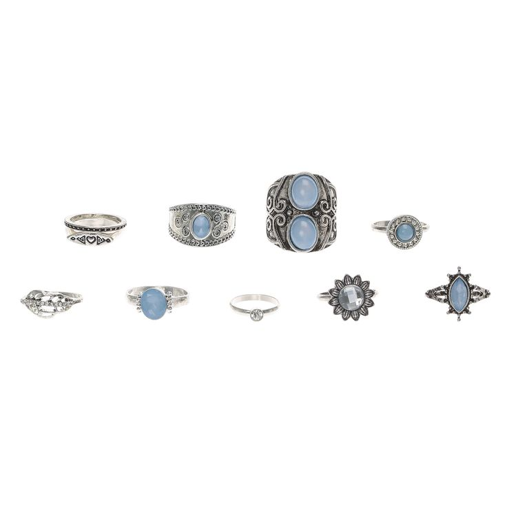 <P>Add some antique glam to your ring collection with this set of 10 stacking rings. Some of the designs can be worn midi-style to create a variety of mix and match unique looks. </P> - <UL> - <LI>Set of 10</LI> - <LI>Burnished silver-tone finish</LI></UL>