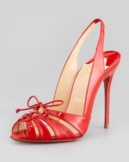 Christian Louboutin Corsetica Patent Leather/PVC Slingback Red Sole Sandal, Rouge