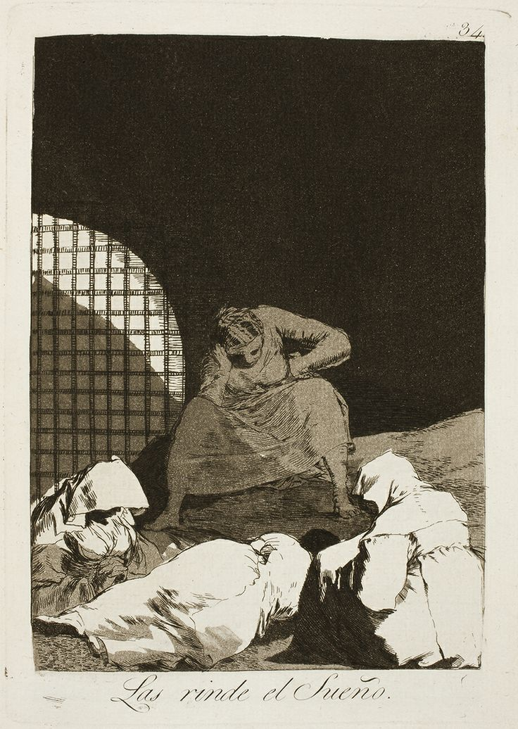 "Francisco de Goya: ""Las rinde el Sueño"". Serie ""Los caprichos"" [34]. Etching and aquatint on paper, 214 x 152 mm, 1797-99. Museo Nacional del Prado, Madrid, Spain"