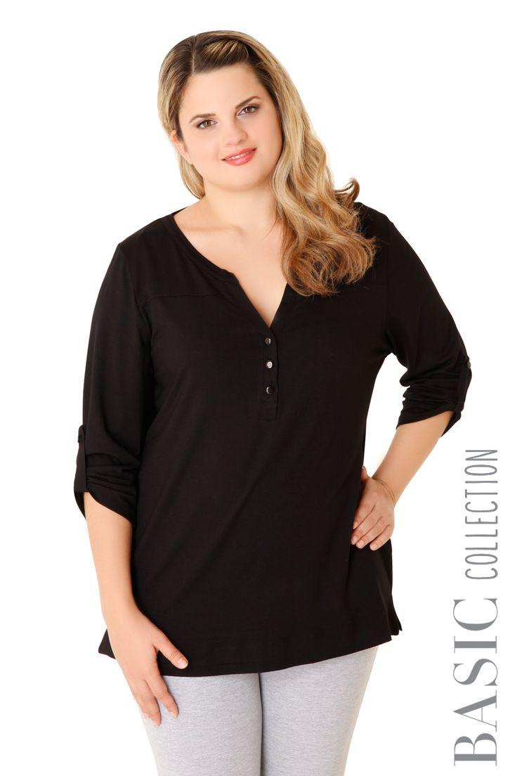 Βισκόζ ελαστική μπλούζα με κουμπιά και μανίκι που μαζεύει. Διαθέσιμη σε 3 χρώματα.