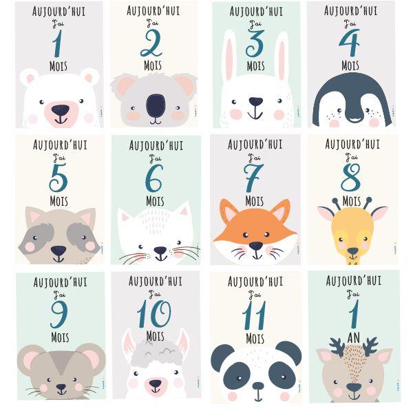 carte etape bebe a imprimer gratuit Une photo chaque mois avec bébé : les cartes à imprimer | Carte