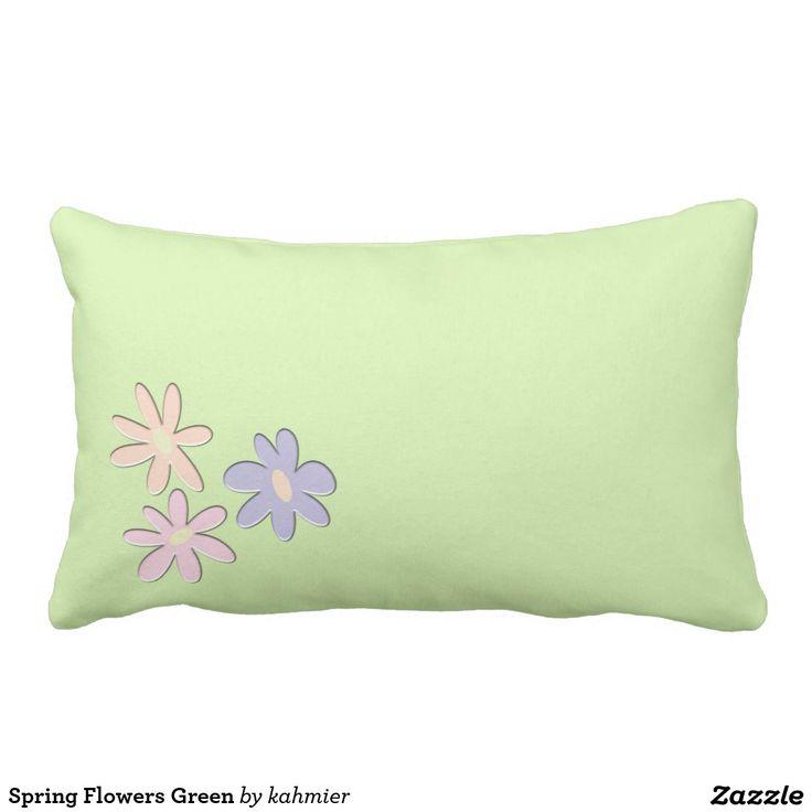 Spring Flowers Green Lumbar Pillow Throw pillows, Rainbow heart and Frankenstein