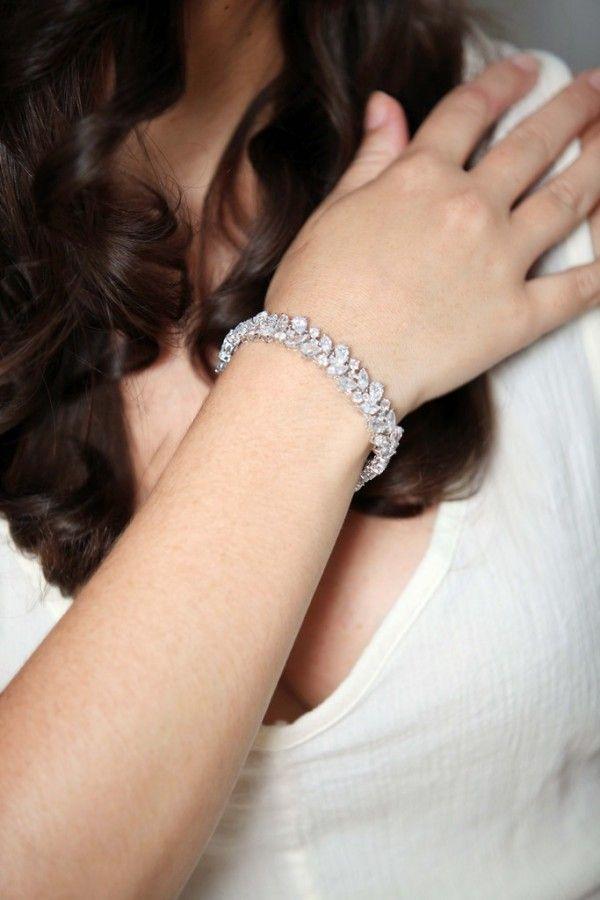 2017 Platinum Wedding Bracelet Leaf Shaped Diamond