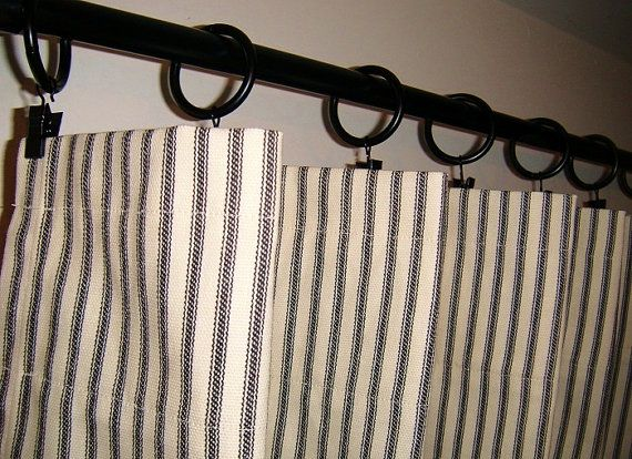 Window Curtains Ticking Stripe 50x84 Shabby Chic French