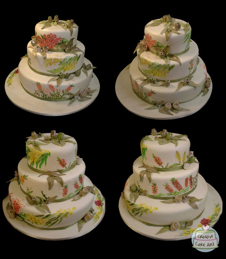 Hand painted Australian native flower cake