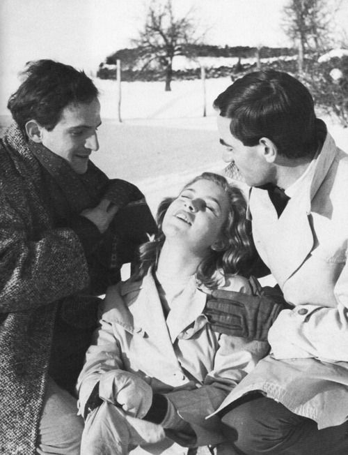 Marie Dubois with François Truffaut and Charles Aznavour on the set of Shoot the Piano Player (1960).