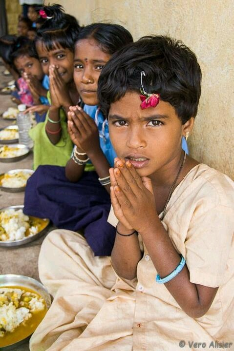 if there is no respect or devotion towards food and great farmers and god... no use of eating.. an every day scene in rural indian government schools