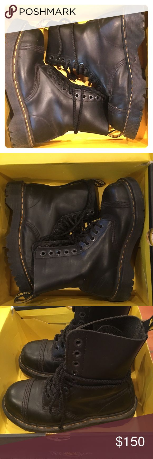 10 eyelet steel cap Dr Martens boots Authentic docs. 🎩Stomped just a few miles, kicked a few bricks, in original box. STEEL CAP, 10 eyelet, black rubber sole. Size 6 fits women's US size 7.5(box says size US W7, but my experience is that the sizes run 1.5 larger than the uk/us men's size. 💜I wear a 7.5, and these fit perfect with boot socks. The euro size listed on box is 38, which POSHMARK converts to US women's 8. 🚨The true size range of these boots is 7.5-8 women's US size. Dr. Martens…