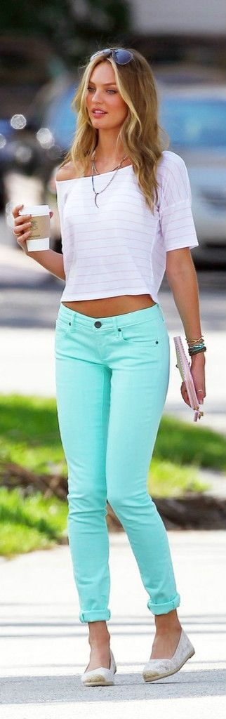 Candice looks sweet street style ♥♥ #mint jeans