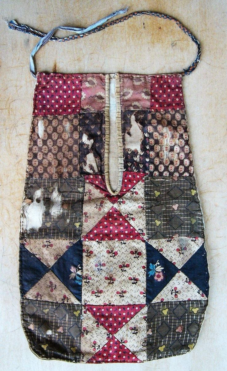 """RARE Antique Early 19th C Pieced Cotton Patchwork Brown Calico Sewing Pocket 