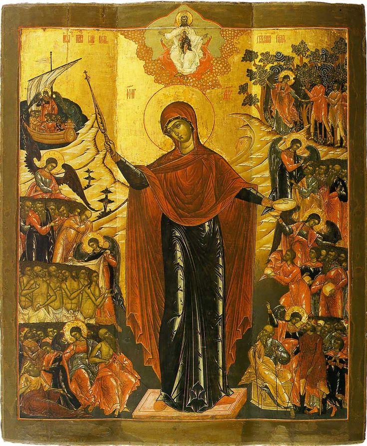 Богоматерь «Всех скорбящих радость» Palekh Icon Начало XVIII в.